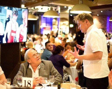 Gordon Ramsay lookalike Martin Jordan entertaining dinner guests