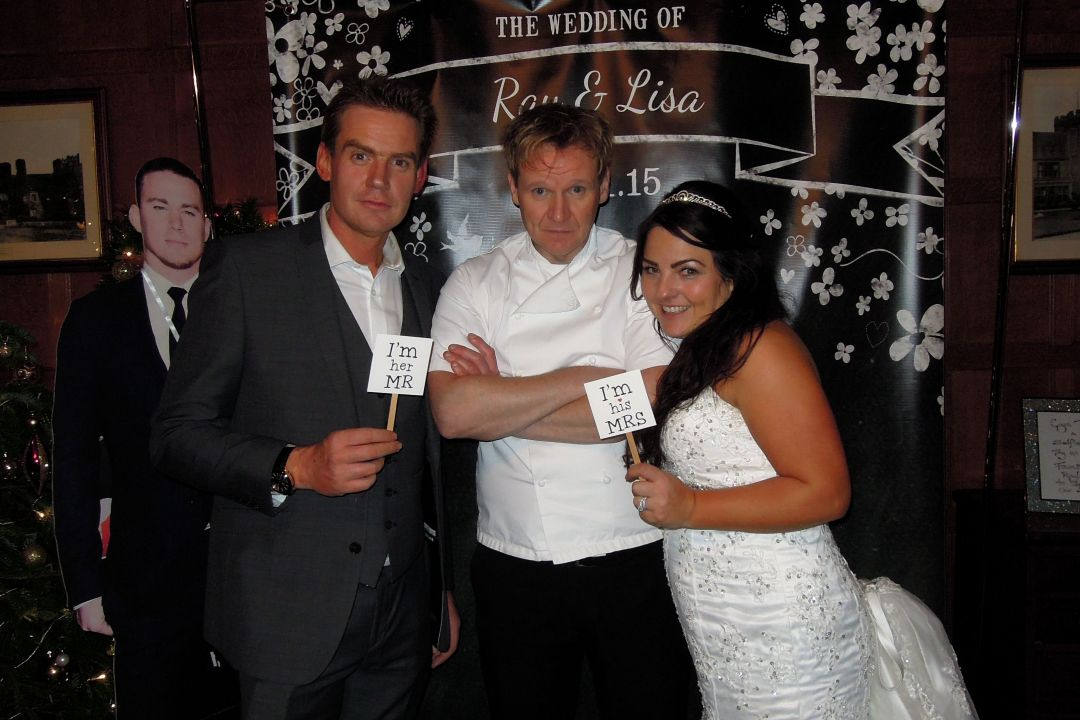 Gordon Ramsay lookalike and the happy wedding couple