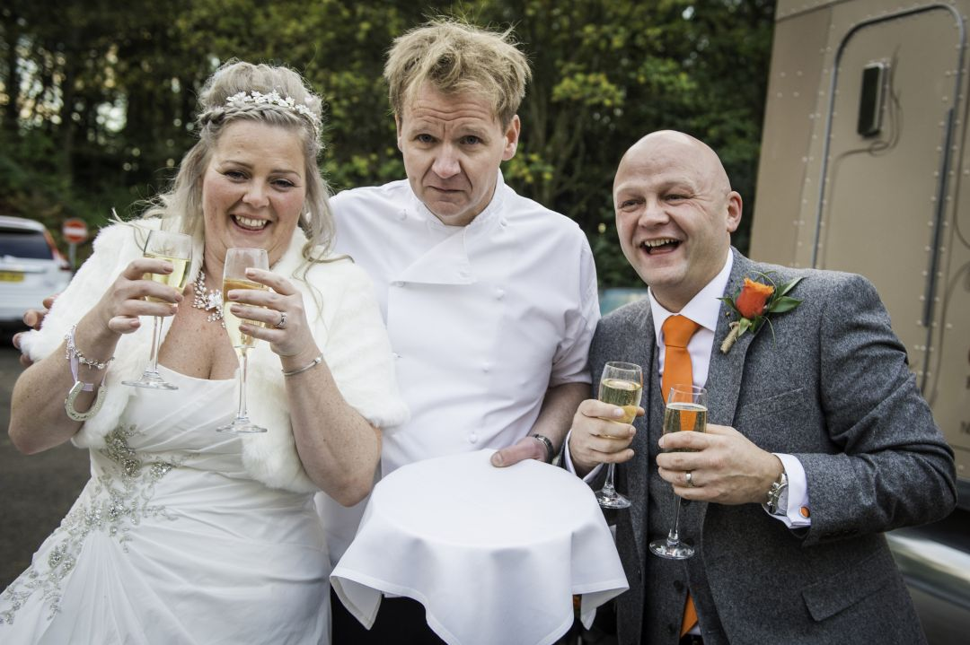 Gordon Ramsay lookalike Martin Jordan wedding champagne reception