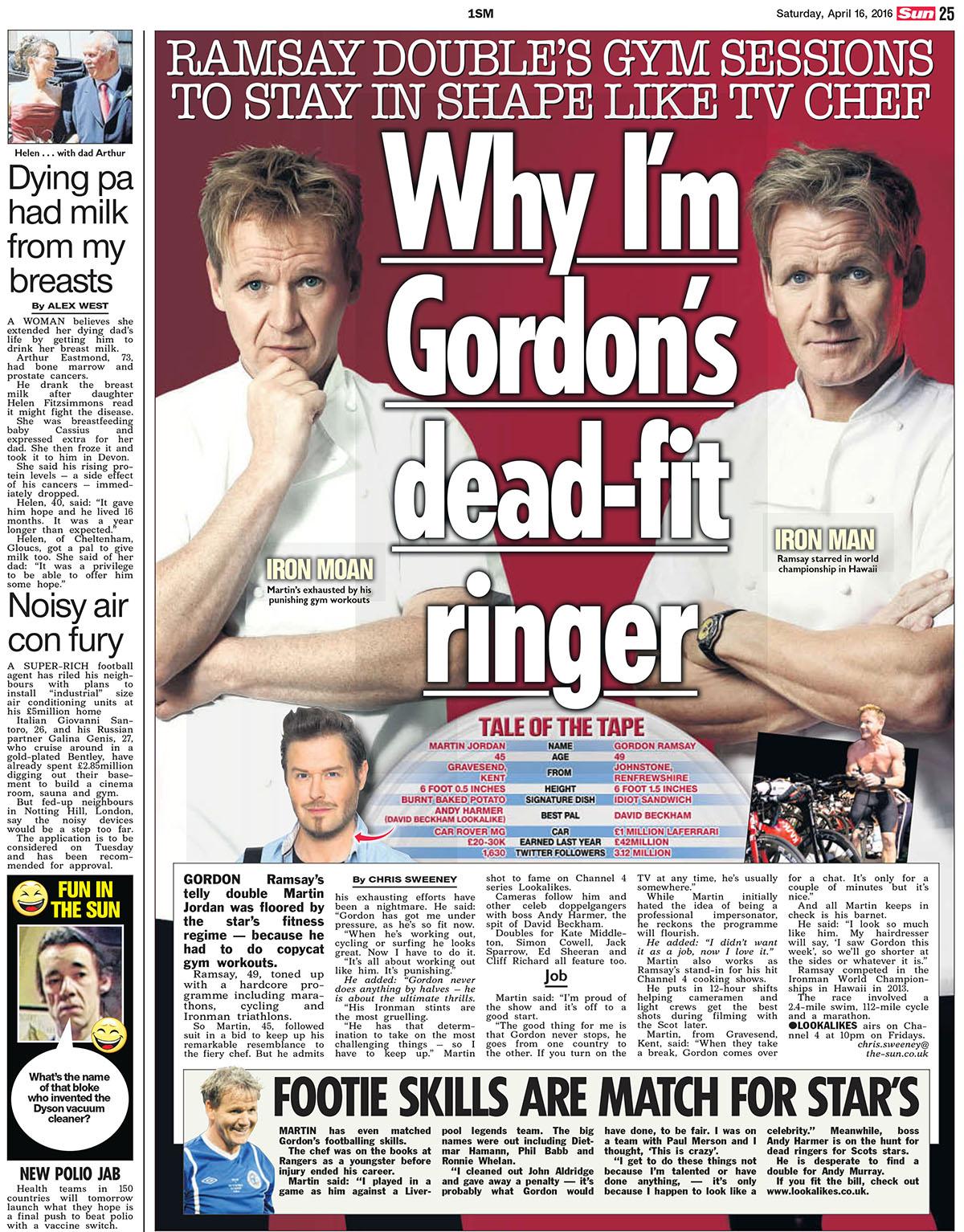 Gordon Ramsay lookalike fitness battle