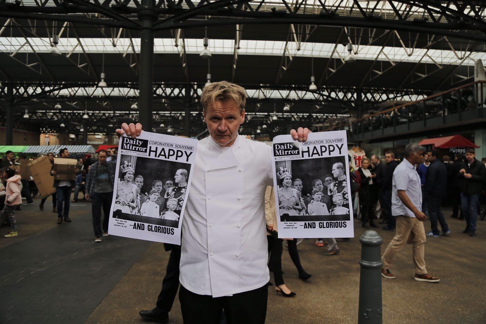 Gordon Ramsay lookalike with Historic Newspapers
